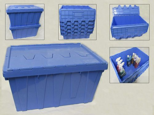 X4 60L Heavy Duty Plastic Storage Boxes - 600 x 400 x 320MM Fixed Lid Stackable